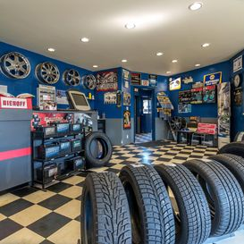 Shop front with tires